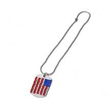 DOG TAG INOX  DAMA -- cu pietre tip Swarovski-  Placuta ID . - flag  US
