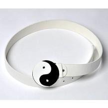 Curea alba  cu catarama Ying -Yang ......OFERTA !!