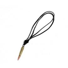 Medalion Native Art - bullet ( glont ) auriu  ( snur piele )