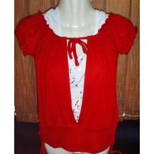 Tricou bluza  si maieu dama - Metrofive  culoare rosie si alb ....OFERTA !!
