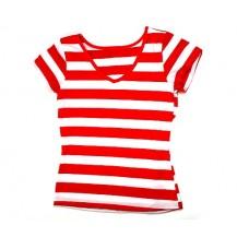 Tricou dama in dungi culoare rosie si  alb....OFERTA !!