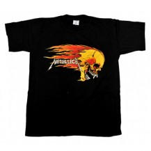 Tricou Metallica - craniu galben in flacari